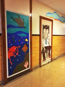 If you're a student at Jefferson, you've seen these before. Everyday while walking down the hall, you always get a greeting from the fish and the sad guy.