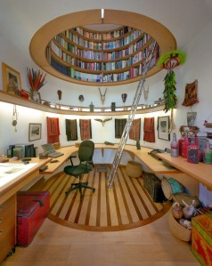 Don't you love this idea? A world of books above your head, accessible by circular-ness.