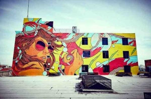 located brilliantly atop a skyscraper roof, Bicicleta Sem Freio is the artist who created the masterpiece.