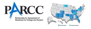 PARCC's logo with a visual on the states it's testing.