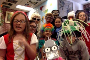 JMS kids gather to show off their impressive and crazily awesome halloween costumes today.